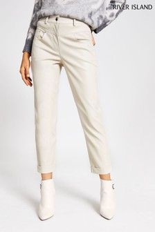 River Island Cream Light Mom Trousers