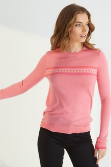 Oliver Bonas Pink Star Stripe Knitted Jumper