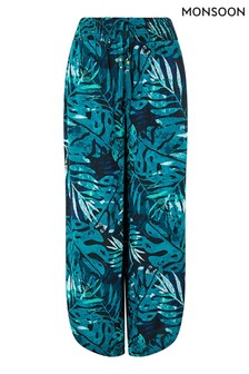 Monsoon Blue Palm Print Sustainable Viscose Trousers