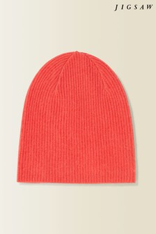 Jigsaw Orange Velvet Cashmere Hat