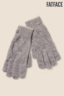 Szare rękawiczki dzianinowe wykonane ściegiem warkoczowym FatFace