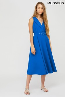 Monsoon Blue Isla Structured Plain Dress