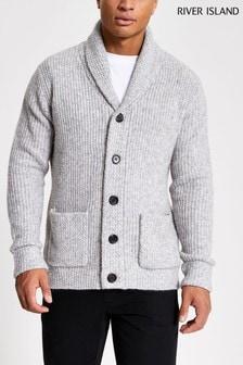 River Island Grey Shawl Knitted Cardigan