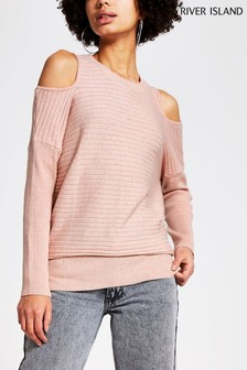 River Island Pink Light Cut Out Shoulder Ribbed Top