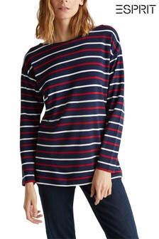 Esprit Blue Contrast Strip Long Sleeve Shirt