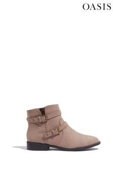 Oasis Grey Blake Flat Buckle Boots