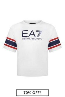 Boys White Cotton Logo Print T-Shirt