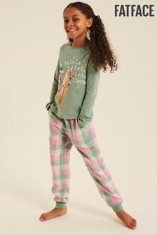 FatFace Green Llama Check Pyjama Set