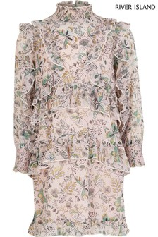 River Island Pink Floral Ruffle Trapeze Dress