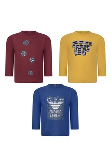 Baby Boys Blue, Red & Yellow Cotton Long Sleeve T-Shirts Three Pack