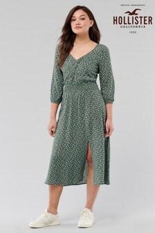 Hollister Green Ditsy Midi Dress