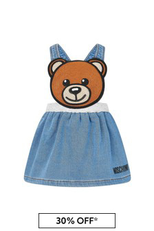 Moschino Kids Baby Girls Blue Cotton Skirt