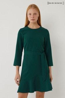 Warehouse Green Frill Hem Crepe Mini Dress