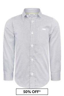 Boss Kidswear Boys White Cotton Logo Print Shirt