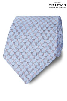 T.M. Lewin Made In Italy Wide Blue, Pink And White Chain Link Silk Tie