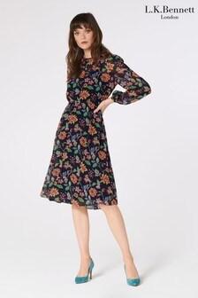L.K.Bennett Blue Evalina 40's Floral Print Dress