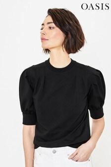 Oasis Black Puff Sleeve Sweater