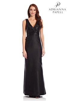 Adrianna Papell Black Sequin Mikado Gown