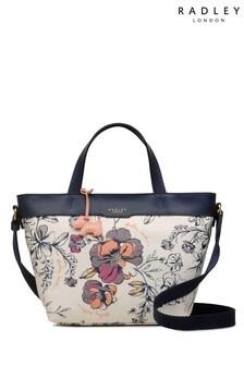 Radley London White Sketchy Floral Medium Zip Top Multiway Bag