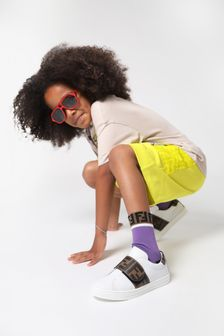 Kids White Leather Logo Trainers