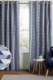 Blue Retro Geo Eyelet Curtains