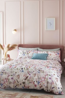 100% Cotton Sateen Pressed Flowers Duvet Cover and Pillowcase Set