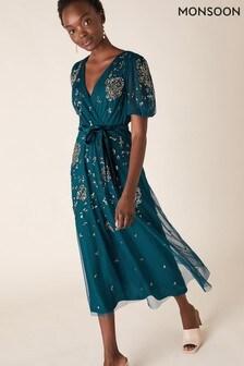 Monsoon Blue Roza Embellished Midi Dress