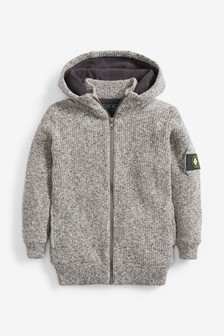 Zip Through Borg Lined Hooded Cardigan (3-16yrs)