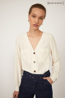 Warehouse Cream Button Front Top