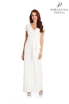 Adrianna Papell White Crepe Cascade Jumpsuit