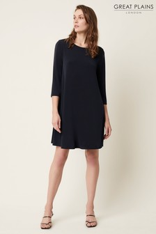Great Plains Blue Adria Jersey Wide Neck Dress