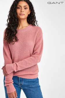 GANT Womens Pink Ribbed Wool Blend Jumper