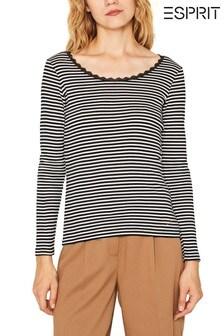 Esprit Black Striped T-Shirt With Lace Neckline