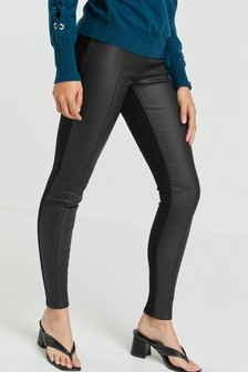 Coated Denim/Ponte Mix Leggings