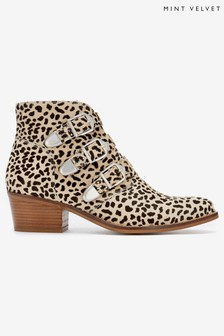 Mint Velvet Cream Lee Leopard Leather Boots