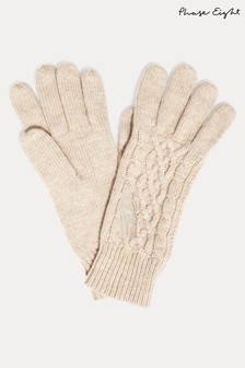 Phase Eight Cream Kora Cable Knit Gloves