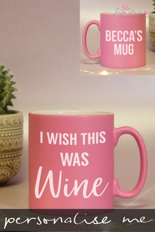 Personalised Wine Pink Mug by Signature PG