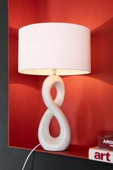 White Abstract Sculptural Table Lamp
