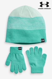 Under Armour Green Hat And Gloves Set
