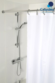 Croydex Plain White Textile Shower Curtains