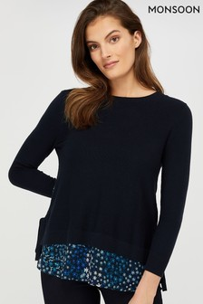 Monsoon Navy Nala Ditsy Woven Hem Jumper