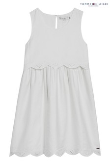 Tommy Hilfiger White Scalloped Broderie Anglaise Dress