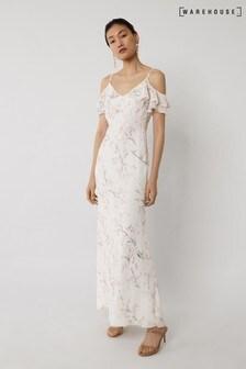 Warehouse Pink Cold Shoulder Bridesmaid Dress