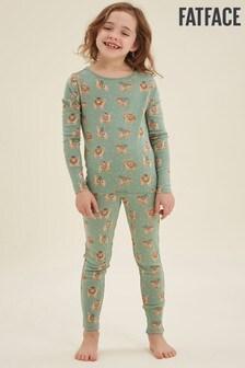 FatFace Green Llama Print Snug Pyjama Set