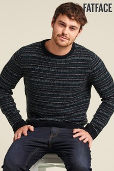 FatFace Blue Ramsey Fairisle Pattern Crew Jumper