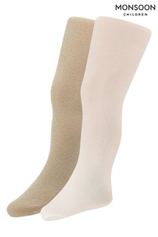 Monsoon Gold Baby Sparkly Nylon Tights Two Pack