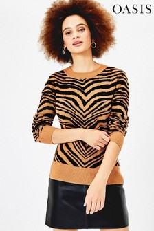 Oasis Brown Tia Tiger Perfect Crew Sweater