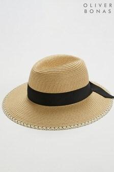 Oliver Bonas Black Bow & Mono Trim Fedora Hat