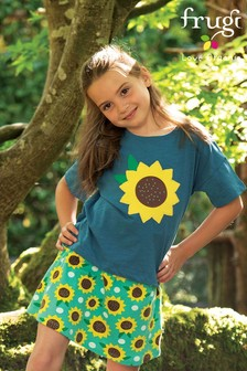 Frugi GOTS Organic Boxy Top With A Sunflower Appliqué
