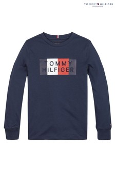 Tommy Hilfiger Blue Global Stripe Graphic Long Sleeve T-Shirt